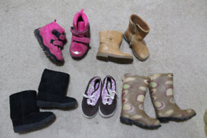 Girl, size 8 (and 10) winter boots/rain boots.tennis shoes