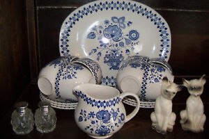 Blue and white dishes set Made in England
