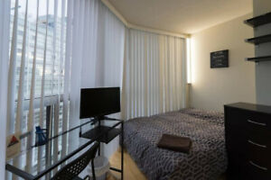 All-inclusive furnished room in luxury condo Wellesley & Yonge