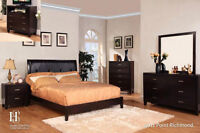 BRAND NEW 8 PIECE LEATHER TUFTED QUEEN BEDROOM SET...$1099