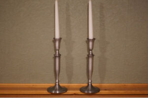 Brushed Nickle Candle Holders
