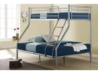 Spring Sale On-Trio Sleeper Metal Bunk Bed Frame in silver Color -Mattress Options