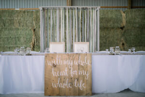 Wedding Decorations, Wood Signs, Napkins, Table Runners etc.