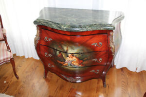 3 Drawer Antique Dresser with Granite top and Artwork