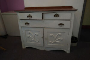 Antique chest of drawer sideboard natural oak & white paint