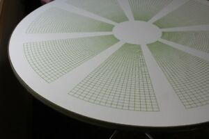 Round Table White - Green Geometric Design
