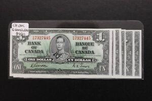 6 Consecutive Canada 1937 $1 Bank Notes