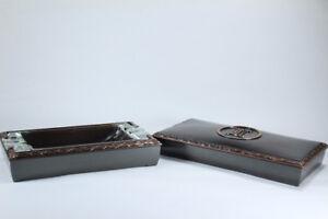 Monogrammed cigarette/cigar box and a matching ashtray