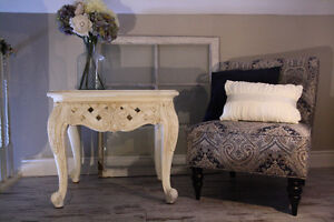 Antique White Large Accent Table with Glass Top