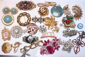 Costume rhinestone brooch earrings necklace ring from $3 each