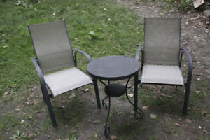 Gray Metal Chairs Patio Set. Everything is good shape.