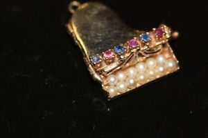 14K gold piano charm studded with genuine jewels