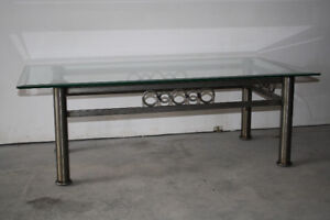 Gun Metal and Beveled Glass Coffee Table