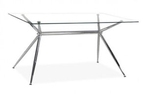 RECTANGULAR GLASS AND CHROME DINING TABLE - $250