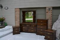Pine Bedroom Furniture 5 pc set - Chocolate Brown