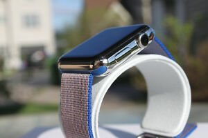 Apple Watch 42mm Stainless Steel Case with Royal Blue Nylon Band