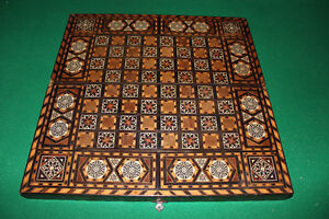 Wooden Backgammon/Chess Board inlaid mother of pearl