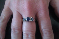 White Gold Ring with Blue Sapphires & Diamonds