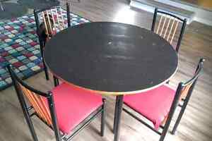 Beautiful black and red kitchen table and chairs