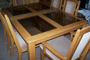 SOLID OAK Table, Leaf, and 6 Beige High Back Upholstered Chairs