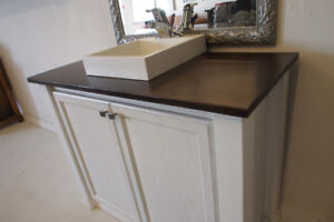 "42"" White Rustic Vanity with walnut finished counter top"