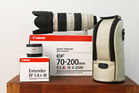 CANON EF 70-200MM F2.8L IS II USM LENS with Extender (see photo)