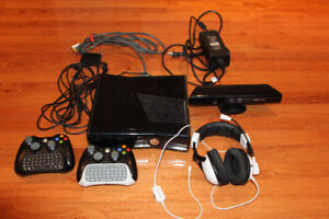 XBOX 360 console, with Kinect, and all accessories