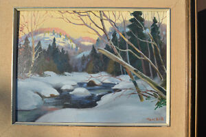 LISTED ARTIST TOM HALL OIL ON BOARD WINTER PAINTING EXCELLENT Gatineau Ottawa / Gatineau Area image 2