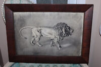 ANTIQUE ART Charcoal Drawing MAJESTIC PROWLING LION WOOD FRAME
