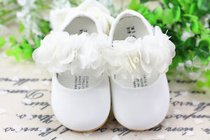 New-Baby-Girls-White-Christening-Shoes-6-9-Months