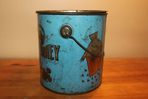 Old Antique Large Blue Quebec Honey Tin London Ontario image 3