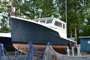 Ex lobster boat, 38 ft x 13 ft, for major repair or for parts.