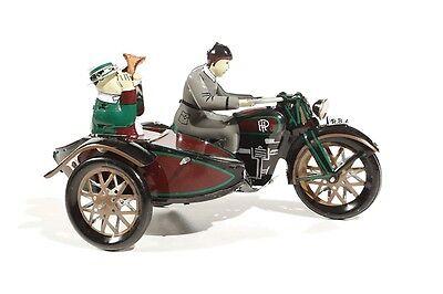 + Blechspielzeug   Nostalgisches MOTORRAD mit BEIFAHRER