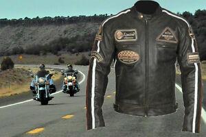 blouson cuir moto roadster moto veste de harley chopper marron xl 5xl ebay. Black Bedroom Furniture Sets. Home Design Ideas