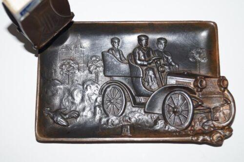 ANTIQUE CAR METAL ASH TRAY MATCH SAFE MATCH HOLDER Ca. 1920