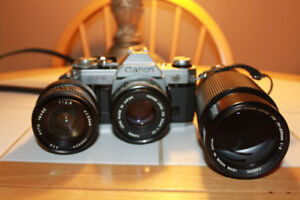 Canon AE-1 35mm Camera With 3 Lenses