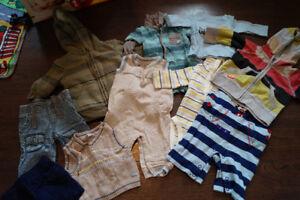Vêtements garçon 0-3 mois: lot de 73 morceaux
