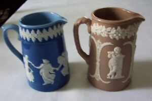 TWO DUDSON BROTHERS JASPERWARE PITCHERS C. 1898