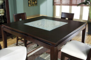 Square dining table, counter height, THE BRICK w/4-8 chairs