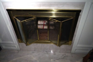"Wood Fireplace Glass Door - 41""(w) x 28"", Gold, Bi-Fold, VINTAGE"