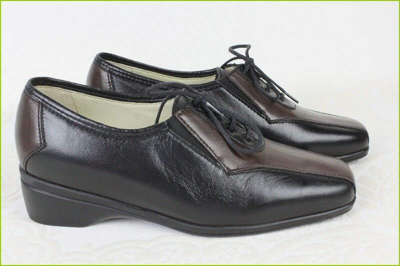 Shoes Lace Marco Comfort Leather Black & Brown T 3/35,5 Top Condition
