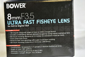 Bower 8mm f3.5 Fisheye lens #SLY358N  Excellent Condition