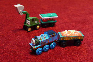 Wooden Trains: Thomas, Alfie, Winter Caboose, Fossil Car