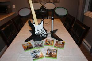 XBox 360 Drum Set + Guitar + 6 jeux