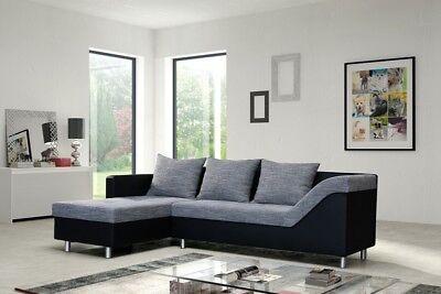 Sofa Couch Ecksofa Eckcouch Sofagarnitur in schwarz / hellgrau - Lissabon 1-