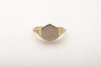 Antique 1920s INITIAL 14k Yellow White Gold Filigree Ring RARE