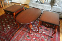 Coffee and end tables, set of 3, good condition, dark brown