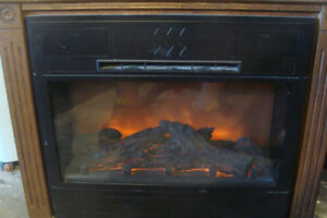 Amish oak electric fireplace