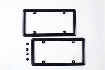 2 BLACK LICENSE PLATE TAG COVER HOLDER FRAMES  FREE 8 SCREW CAPS  Brand New