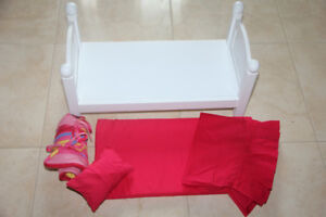 Maplea Doll Bed Frame + Bedding 11 Inches Tall